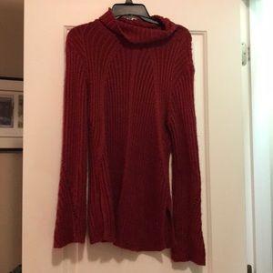Dark red comfy turtleneck sweater